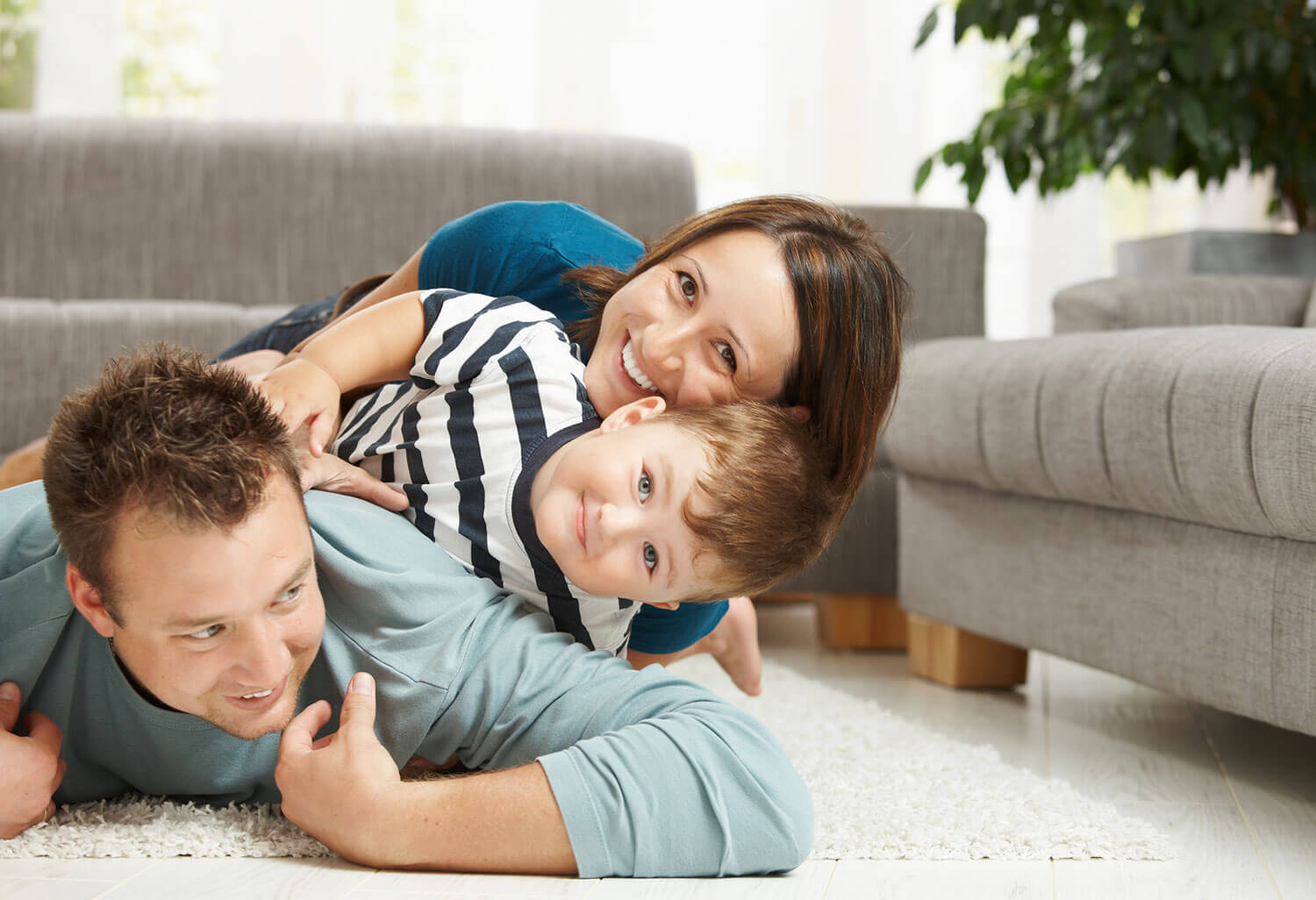 Family On Clean Carpet